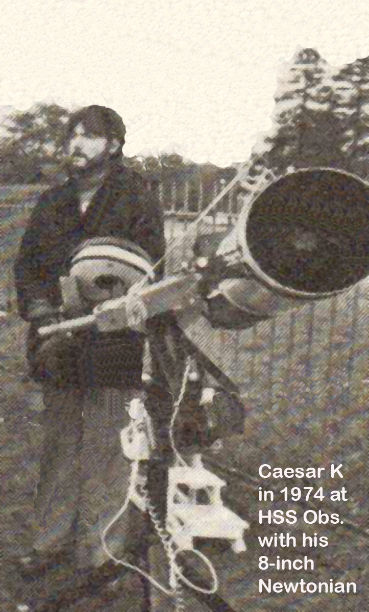 Caesar K in 1974 at HSS Observatory with his 8-inch Newtonian